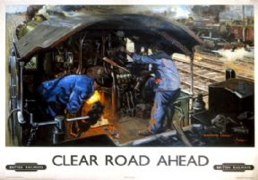 Clear Road Ahead, Monmouth Castle. BR Vintage Travel Poster by Terence Cuneo. 1949